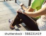 two people using smart sport... | Shutterstock . vector #588231419
