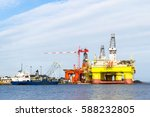 oil platforms under maintenance ... | Shutterstock . vector #588232805