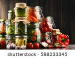 jars with marinated food and... | Shutterstock . vector #588233345