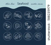 seafood thin line vector icons... | Shutterstock .eps vector #588235979