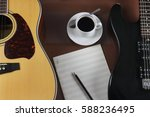 Small photo of Acoustic and electric guitars, musical leaf and cup of coffee