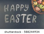 chalkboard with the words happy ... | Shutterstock . vector #588244934