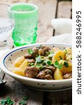 Small photo of Beef and Potato Fricassee.selective focus