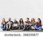diverse group of people... | Shutterstock . vector #588250877