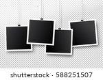 blank photo frame set hanging... | Shutterstock .eps vector #588251507