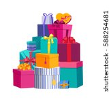 big pile of colorful wrapped... | Shutterstock .eps vector #588254681