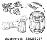 hand holding with beer mug ... | Shutterstock .eps vector #588255287