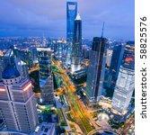 bird view at shanghai china.... | Shutterstock . vector #58825576