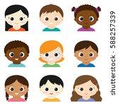 set of cute boys and girls... | Shutterstock . vector #588257339