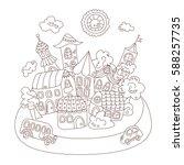 cartoon fairy tale town. vector ... | Shutterstock .eps vector #588257735