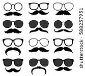 set of hipster mustaches with... | Shutterstock . vector #588257951