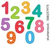 set of numbers from zero to nine   Shutterstock . vector #588257975