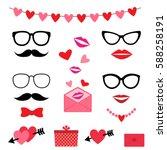 valentine photo booth set | Shutterstock . vector #588258191