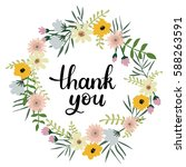 thank you hand lettering... | Shutterstock .eps vector #588263591