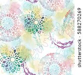 Seamless Pattern With Mandalas...