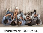 top view of beautiful young... | Shutterstock . vector #588275837