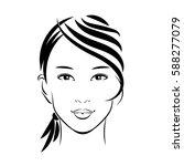 isolated face cute asian girl.... | Shutterstock .eps vector #588277079