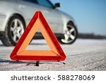 car accident on winter road.... | Shutterstock . vector #588278069