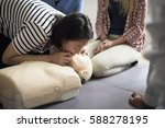 cpr first aid training concept | Shutterstock . vector #588278195