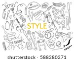 be creative in style. doodle... | Shutterstock .eps vector #588280271