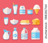 dairy  milk  yogurt  cream ... | Shutterstock .eps vector #588282764