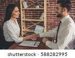 beautiful employer and employee ... | Shutterstock . vector #588282995