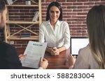 beautiful female employee in... | Shutterstock . vector #588283004