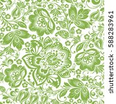 greenery russian floral... | Shutterstock .eps vector #588283961