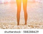 female feet emerging from the... | Shutterstock . vector #588288629