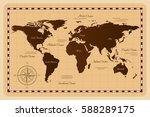 old world map. vector... | Shutterstock .eps vector #588289175