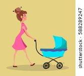 cute mother walking with pram.... | Shutterstock .eps vector #588289247