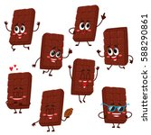 set of cute and funny chocolate ... | Shutterstock .eps vector #588290861
