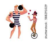 circus performers   strongman ... | Shutterstock .eps vector #588291029