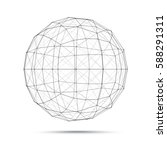 geometric wire mesh sphere   Shutterstock .eps vector #588291311