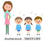 singing  kindergarten child ... | Shutterstock .eps vector #588291389