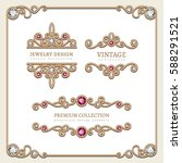vintage gold jewelry vignettes... | Shutterstock .eps vector #588291521