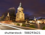 Kielce Cathedral at night. Kielce, Holy Cross Province, Poland.