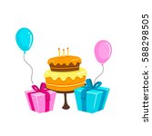 birthday cake  gift boxes and... | Shutterstock .eps vector #588298505