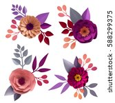 Stock photo  d render digital illustration decorative paper flowers craft collection floral design elements 588299375