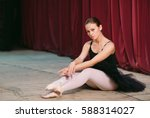 Young Ballerina In Black Dress...