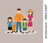 family holiday  cartoon... | Shutterstock .eps vector #588314687