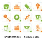 stylized sweet food and... | Shutterstock .eps vector #588316181