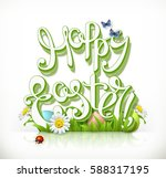 happy easter lettering and... | Shutterstock .eps vector #588317195