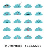 emoji clouds vector. cute smily ... | Shutterstock .eps vector #588322289