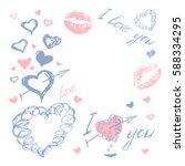 love doodle romantic background ... | Shutterstock .eps vector #588334295
