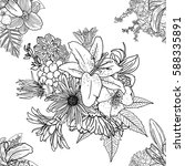 doodle floral drawing seamless... | Shutterstock .eps vector #588335891
