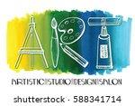 art salon design studio logo...   Shutterstock .eps vector #588341714