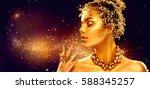 gold woman make up with golden... | Shutterstock . vector #588345257