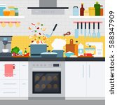 home cooking flat illustrations.... | Shutterstock . vector #588347909