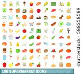 100 Supermarket Icons Set In...